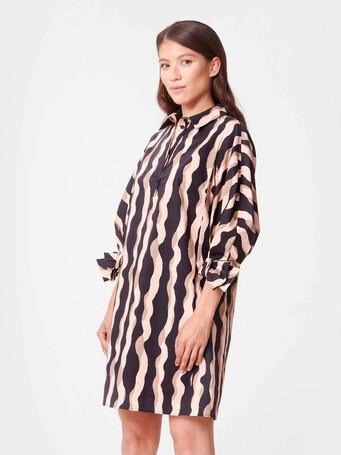 Print poplin dress - Poudre / noir