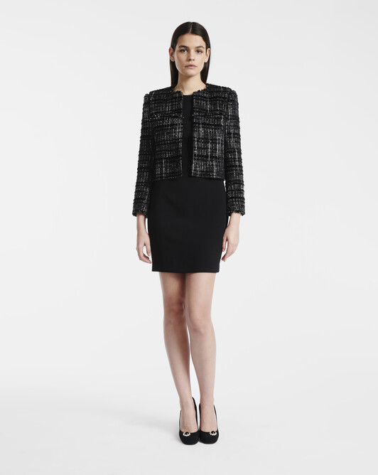 Lurex and velvet tweed jacket - Noir