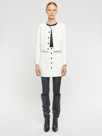 Stretch-tricotine cardigan - Off white