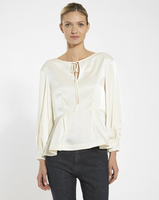 Flowing satin top - Naturel
