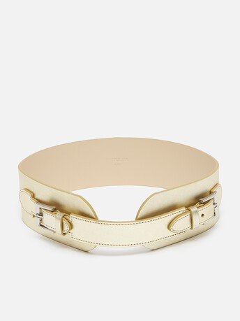 Metallic leather belt - Or clair