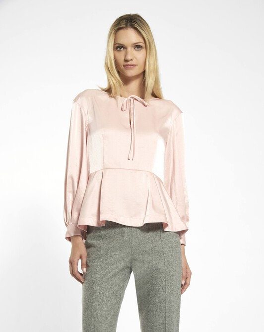 Flowing satin top - Rose pale