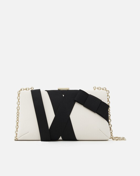 Satin-back crepe clutch - Coquille / noir