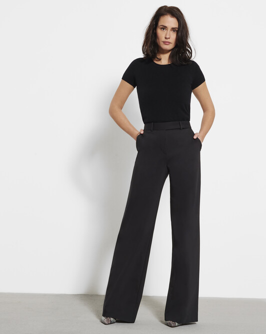Stretch-cotton tricotine pants - Noir