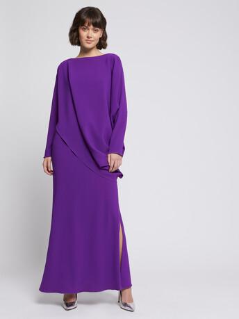 Robe longue drapée en crêpe envers satin - Bougainvillier
