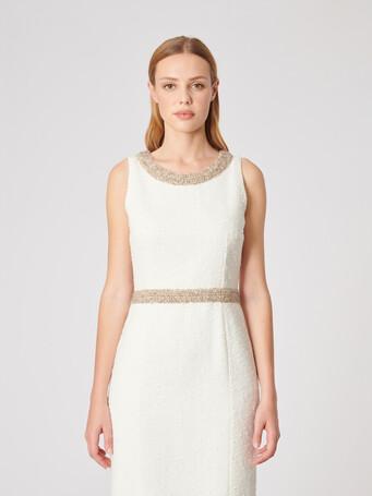Robe en toile plumetis - Blanc casse