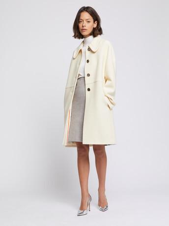 Manteau à col Claudine en laine reliéfée - Blanc casse