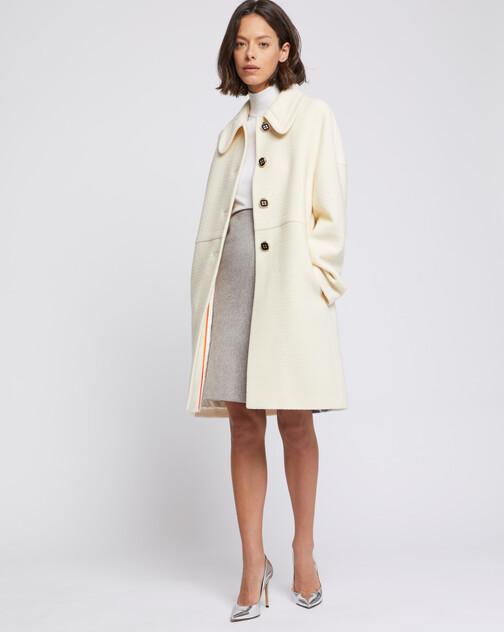 Manteau à col Claudine en laine reliéfée