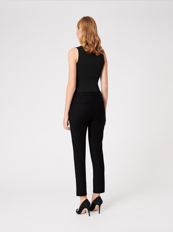 Satin-back crepe pants - Noir