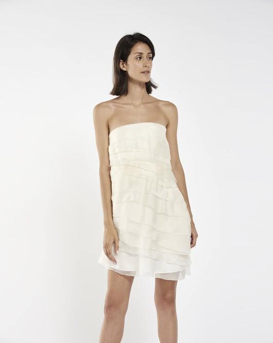 Strapless dress in organza - White