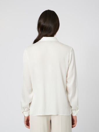 Stretch-charmeuse top - Off white