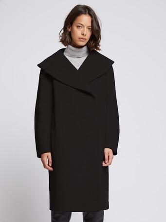Wool coat with XXL collar - Noir