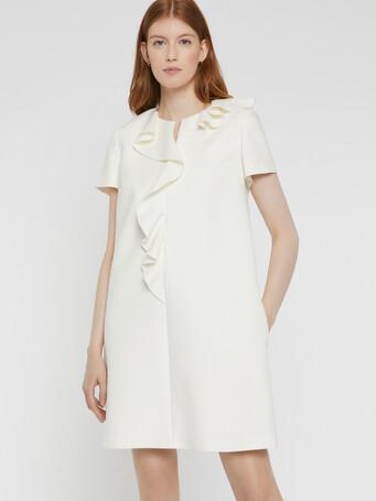 Robe courte en tricotine stretch - Blanc casse
