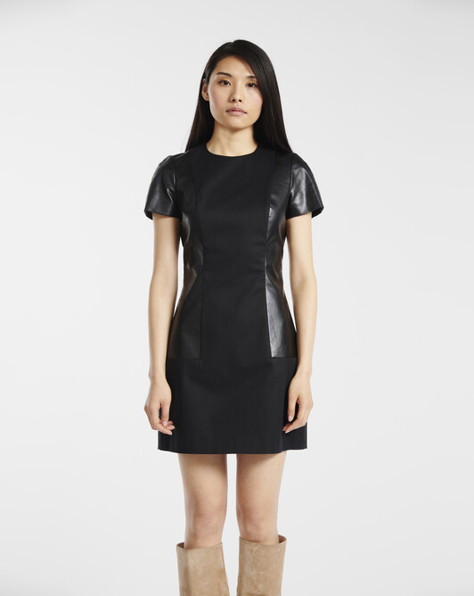 Dress in stretch-cotton gabardine - Noir
