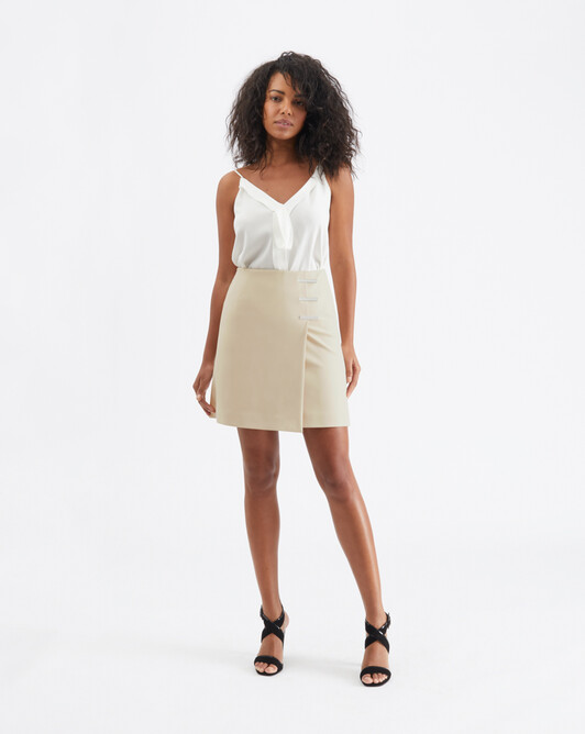 Cotton-tricotine skirt - Biscuit