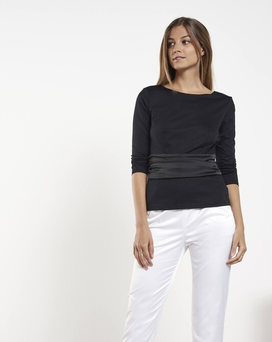 Cotton-jersey top - Noir