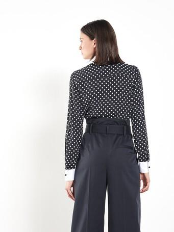 Chemise en crêpe à pois - Noir / blanc