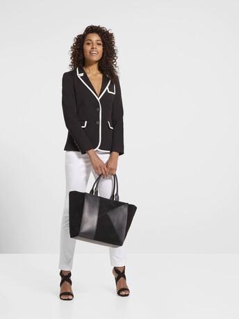 Veste en ottoman de coton stretch - Noir / blanc casse