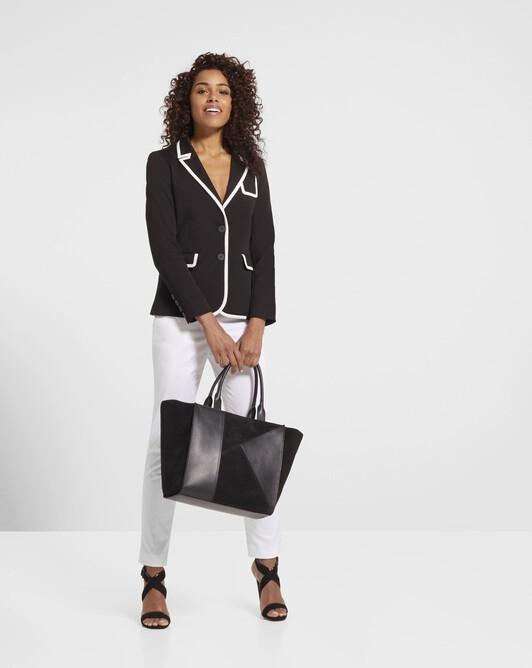 Stretch-cotton ottoman jacket - Noir / blanc casse