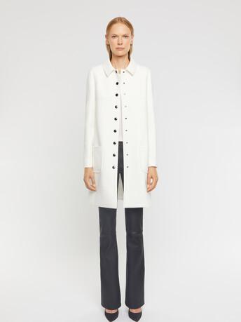 Manteau en tricotine stretch - Blanc casse