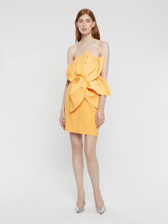 Satin-back crepe dress - Curcuma