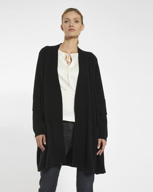 Manteau en laine mélangée cachemire - noir