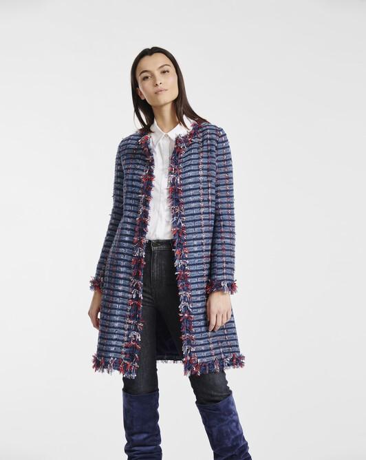 Coat in tweed gauze - Bleu / rouge