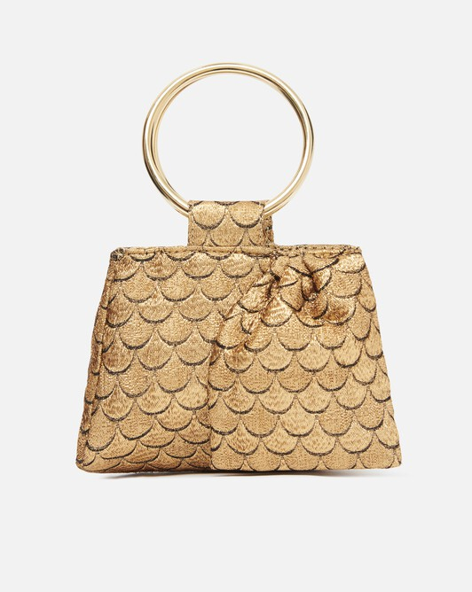 Scaled-jacquard clutch - Or