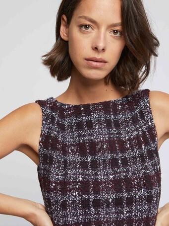 Burgundy tweed shift dress - Bourgogne