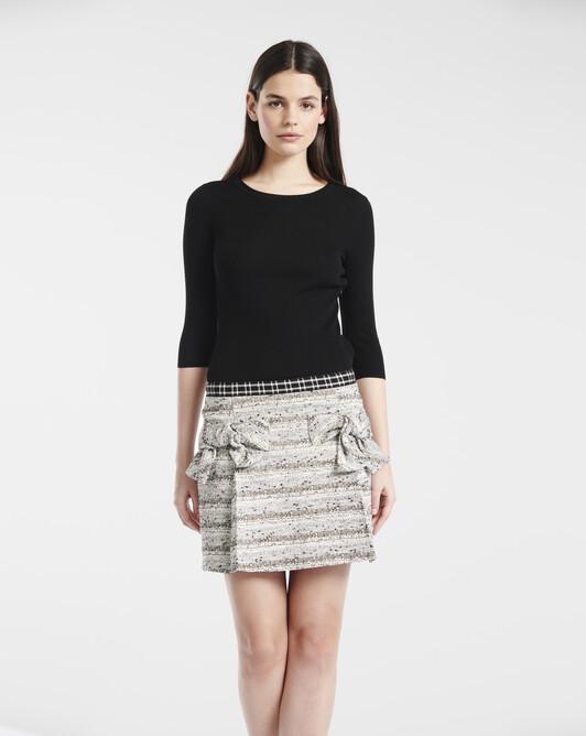 Robe en tweed fin noir et blanc - Noir / blanc