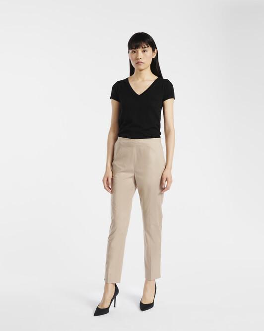 Pants in stretch-cotton poplin - Beige