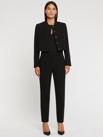 Double-wool crepe jacket - Noir