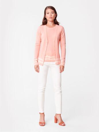 Merino wool cardigan - Eau de rose / blanc casse