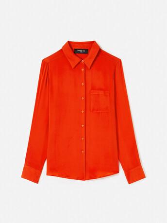 Stretch-charmeuse shirt - Cornaline