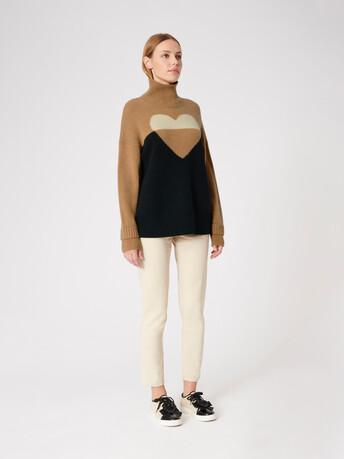 Wool sweater - Camel / noir