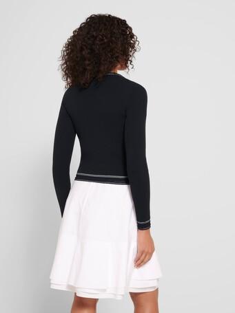 Cardigan en coton - Noir / blanc casse