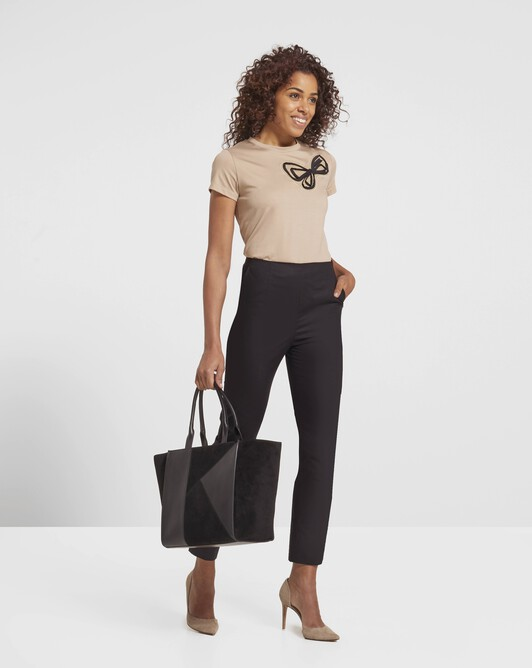 Stretch cotton poplin trousers - Noir