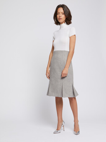 Pleated wool dress - Souris