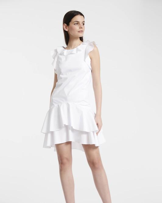 Robe en popeline de coton stretch - Blanc