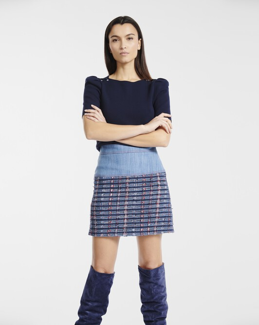 Skirt in tweed gauze - Bleu / rouge