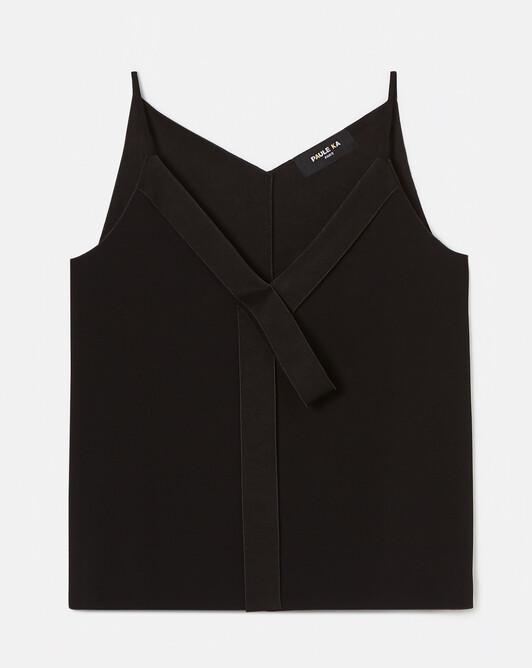 Satin-back crepe tank top - Noir