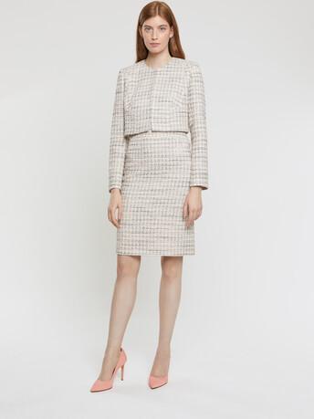 Veste courte en tweed mini nœuds - Rose pale