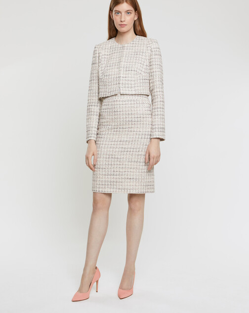 Veste courte en tweed mini nœuds