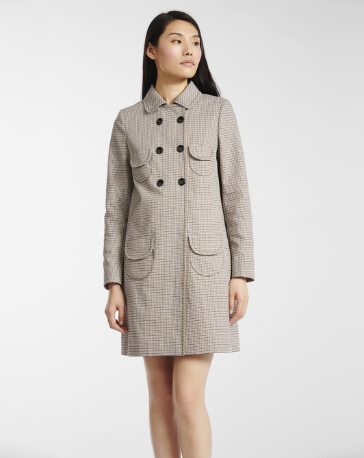Coat in houndstooth cotton - Black / camel