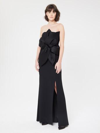 Robe longue bustier en crêpe envers satin - Noir