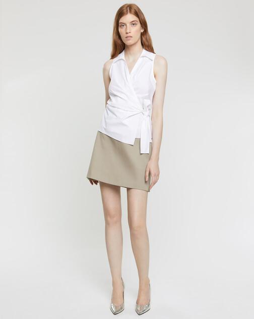 Sleeveless cotton-poplin blouse