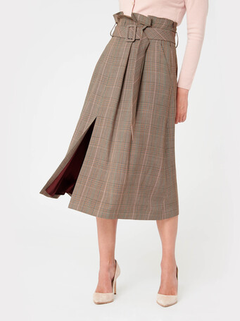 Prince of Wales checked voile skirt - Multicolore
