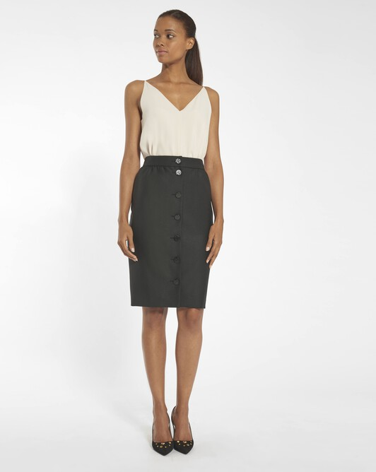 Wool drill skirt - black