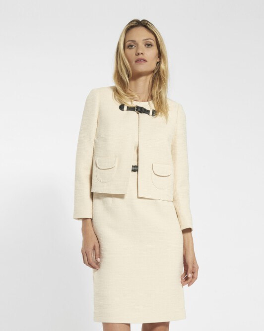 Jacket in cotton dobby - Ivory