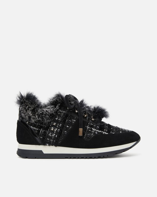 Lurex and velvet tweed sneakers - Noir